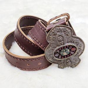 Cabi|Large Buckle Boho Brown Leather Belt